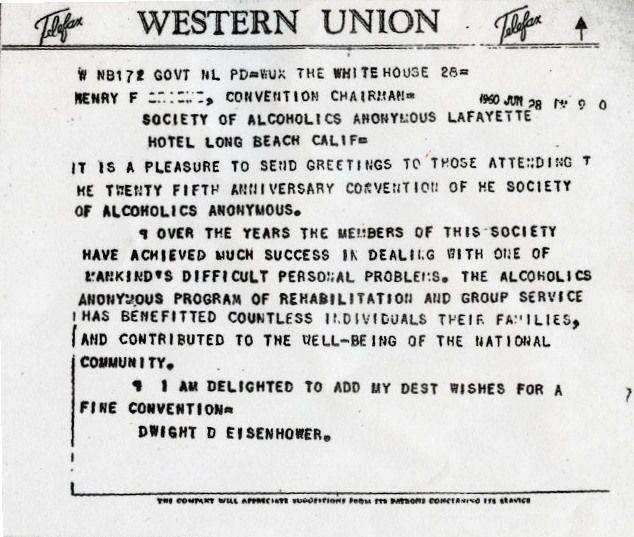 28 Juin 1960 : Le Président Eisenhower adresse ses félicitations à AA
