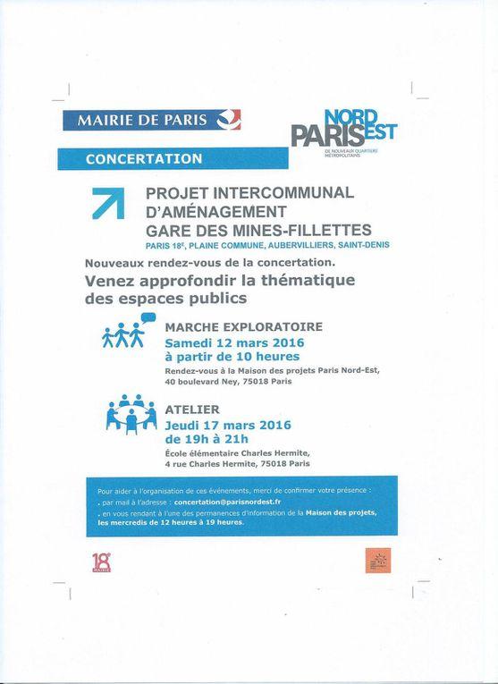 Gare des Mines : marche exploratoire du 12 mars, plan masse du secteur et carte des axes et franchissements - Documents urbanistes/Mairie de Paris