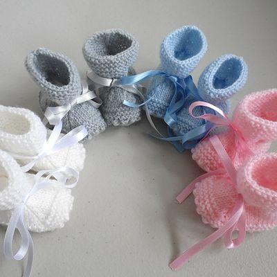 Tricot bébé chaussons layette laine bb fait main