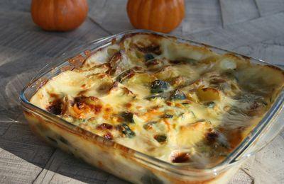 gratin de courgettes, potiron et pommes de terre