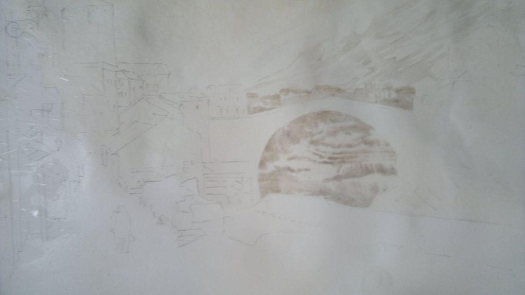 technique de lavage en plusieurs étapes,cad, on peint contrasté et précis, on lave,puis on avance et on relave