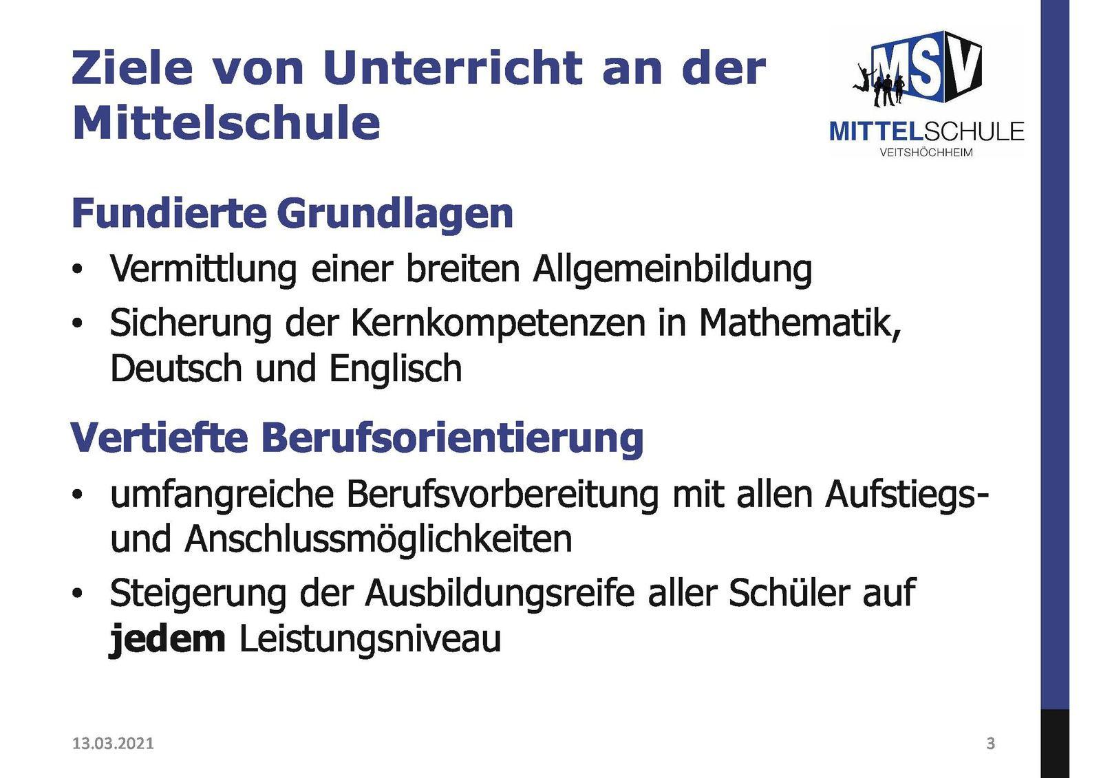 Infos über Mittelschule Veitshöchheim als weiterführende und berufsvorbereitende Schule