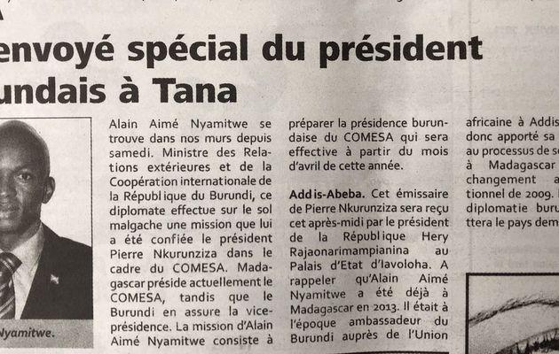Envoyé spécial du président burundais à Madagascar