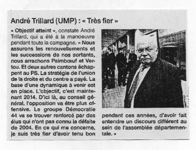 Elections cantonales : réaction d'André Trillard