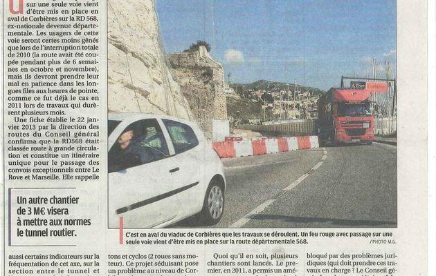 Travaux entre l'Estaque et le Rove - La Provence 13 février 2013