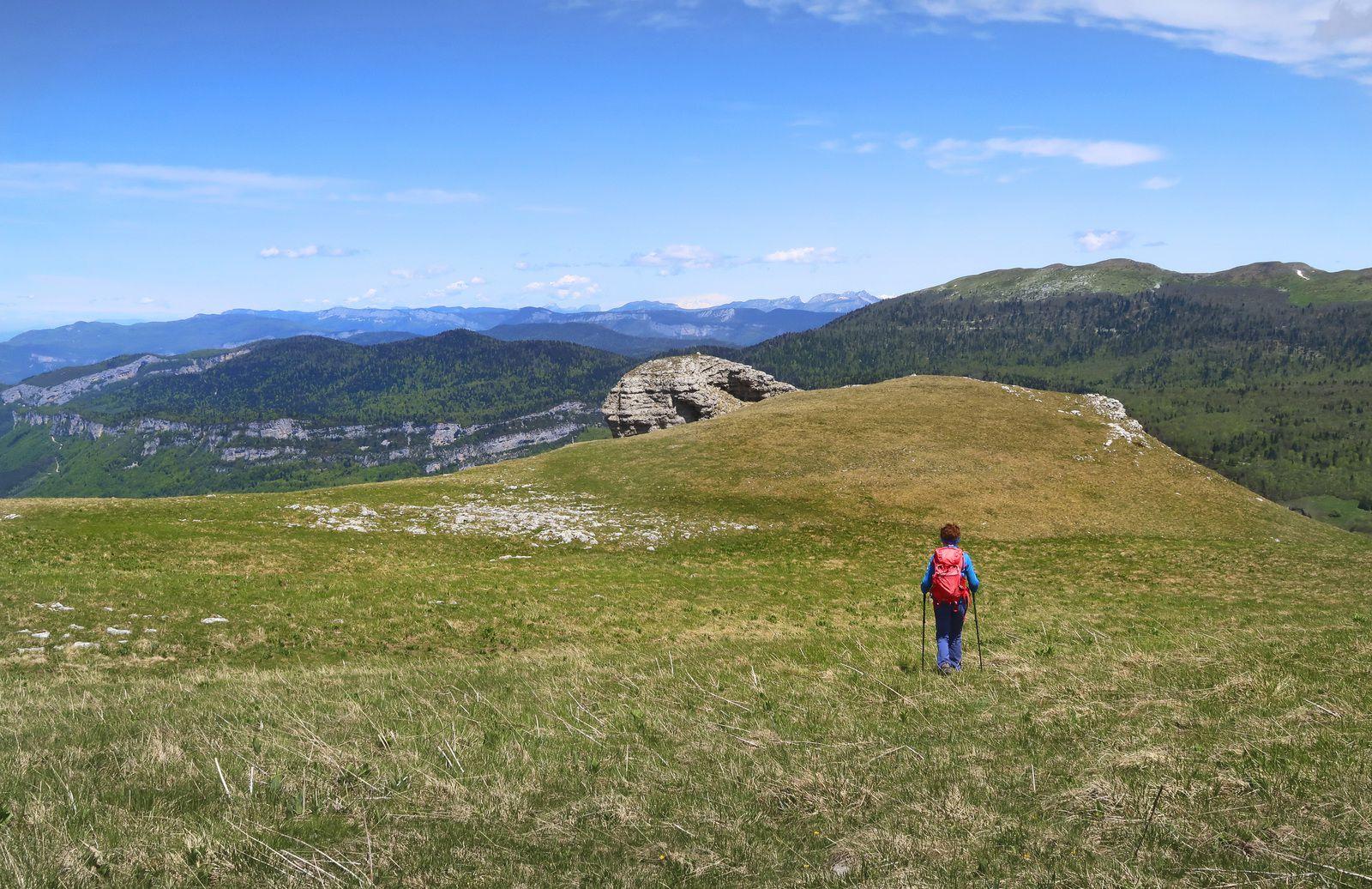 Traversée du plateau sommital en direction du curieux dôme rocheux du sommet nord-est.