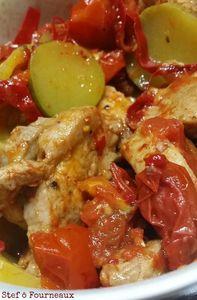 Filet mignon de porc, courgette, tomate et piment d'Espelette