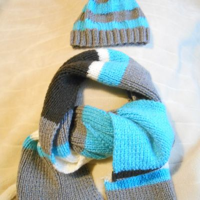 grande écharpe rayée bleu turquoise, beige, marron et gris taupe
