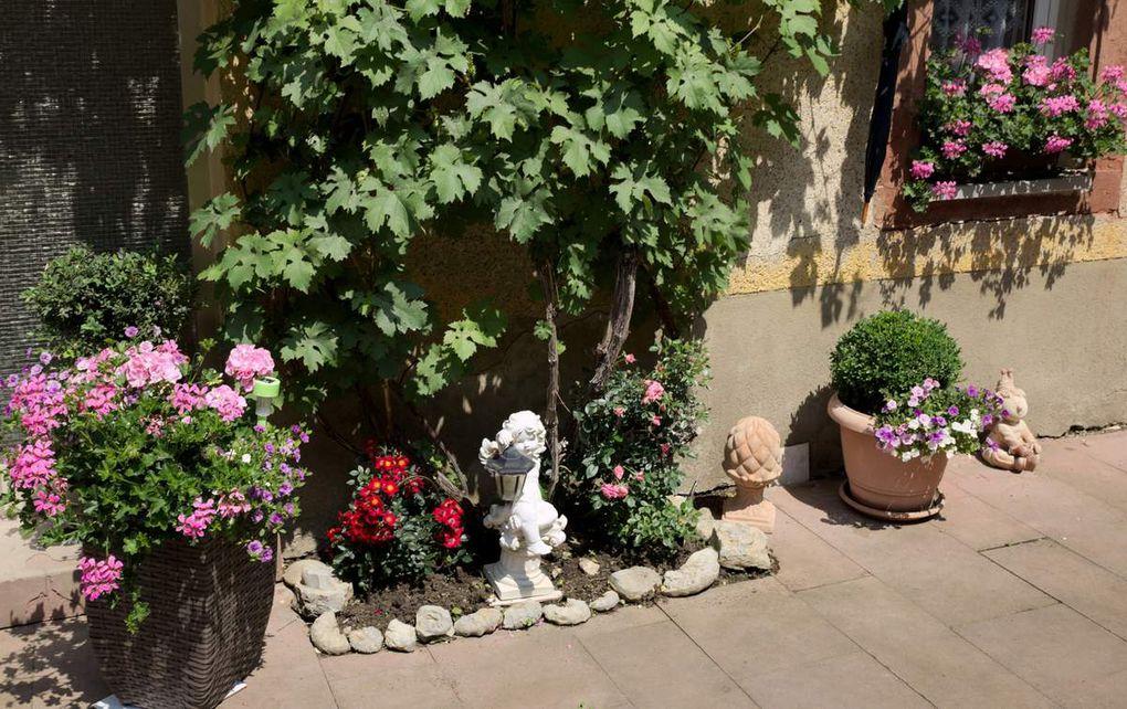 Als zusätzliches High-Light stellte beim Tag der Offenen Gärten Reinhold Fella - Besitzer eines naturnahen Gartens - seine selbst gestalteten Holzfiguren aus.