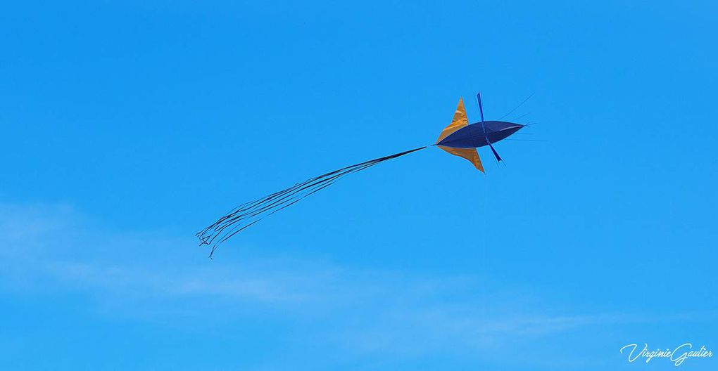 Festivent 2018, cerfs-volants, drapeaux, ciel bleu et mer comme un lac