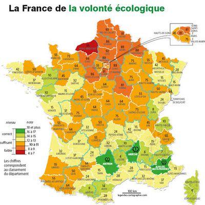Le palmarès 2009 de l'écologie : le classement des départements français