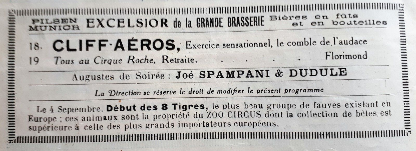 Un programme du Cirque Roche