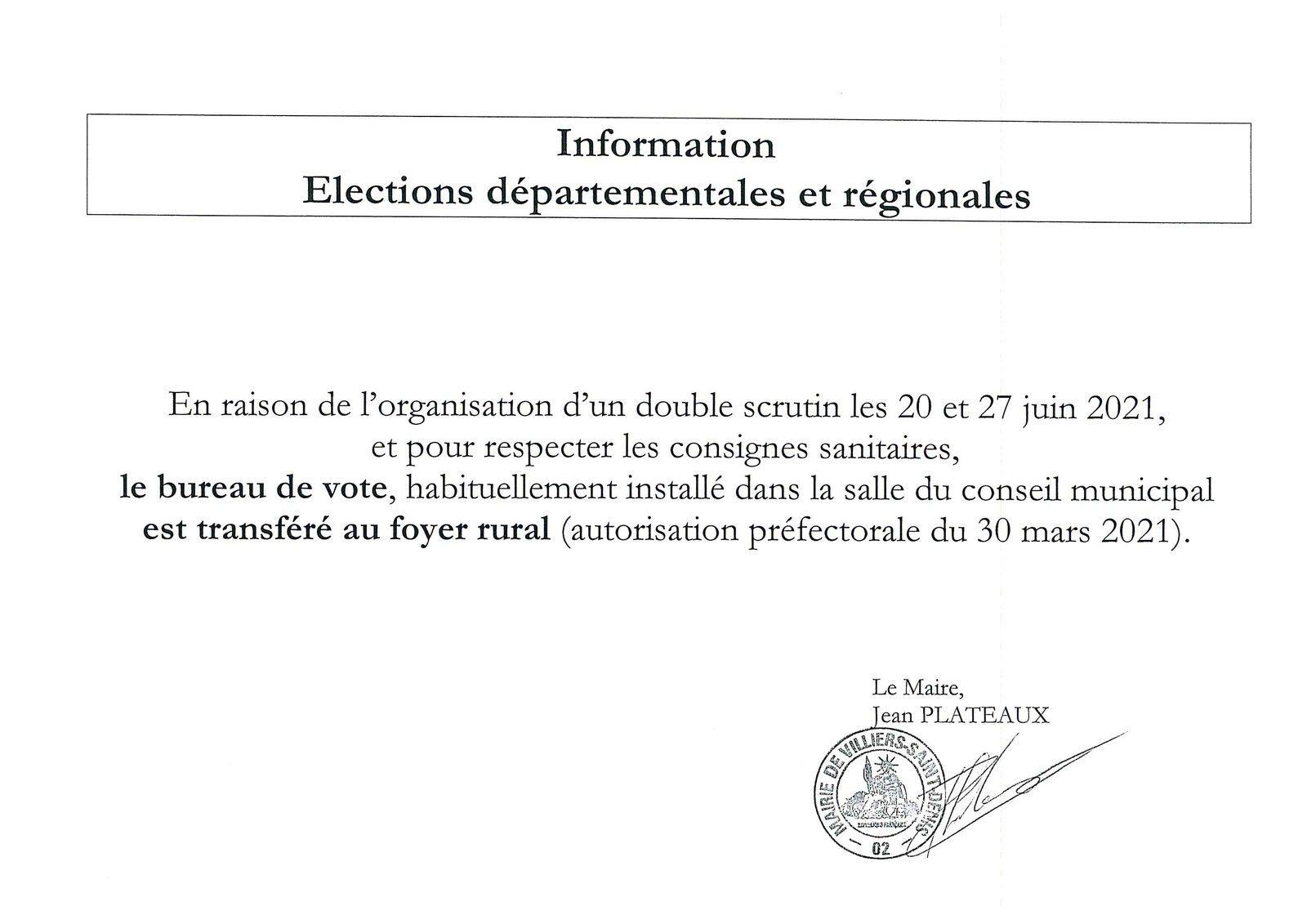 Information - élections départementales et régionales
