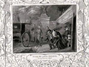 Représentations d'époque de la fuite de Louis Philippe et de sa famille dans des voitures de service
