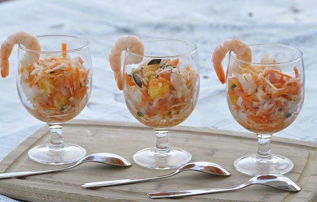 Salade fraicheur fenouil carotte agrumes et crevettes