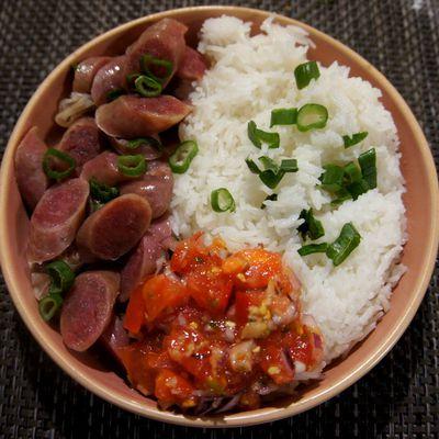 Riz aux saucisses chinoises