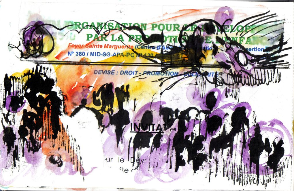 des dessins pour évoquer l'Afrique qui ne décrivent rien mais suggèrent des impressions et des allers-retours