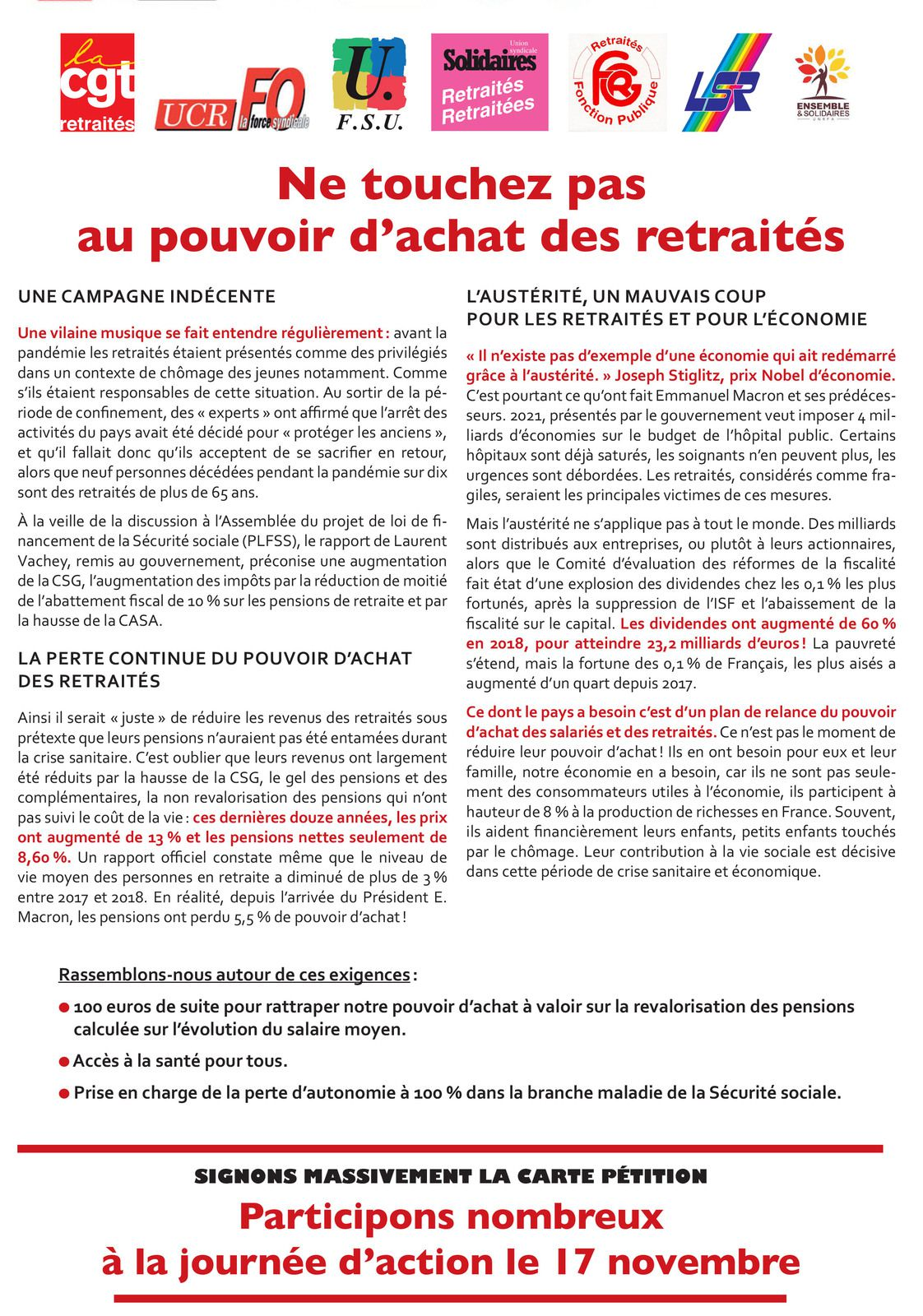 Action Nationale intersyndicale des retraité-e-s 17 novembre 2020