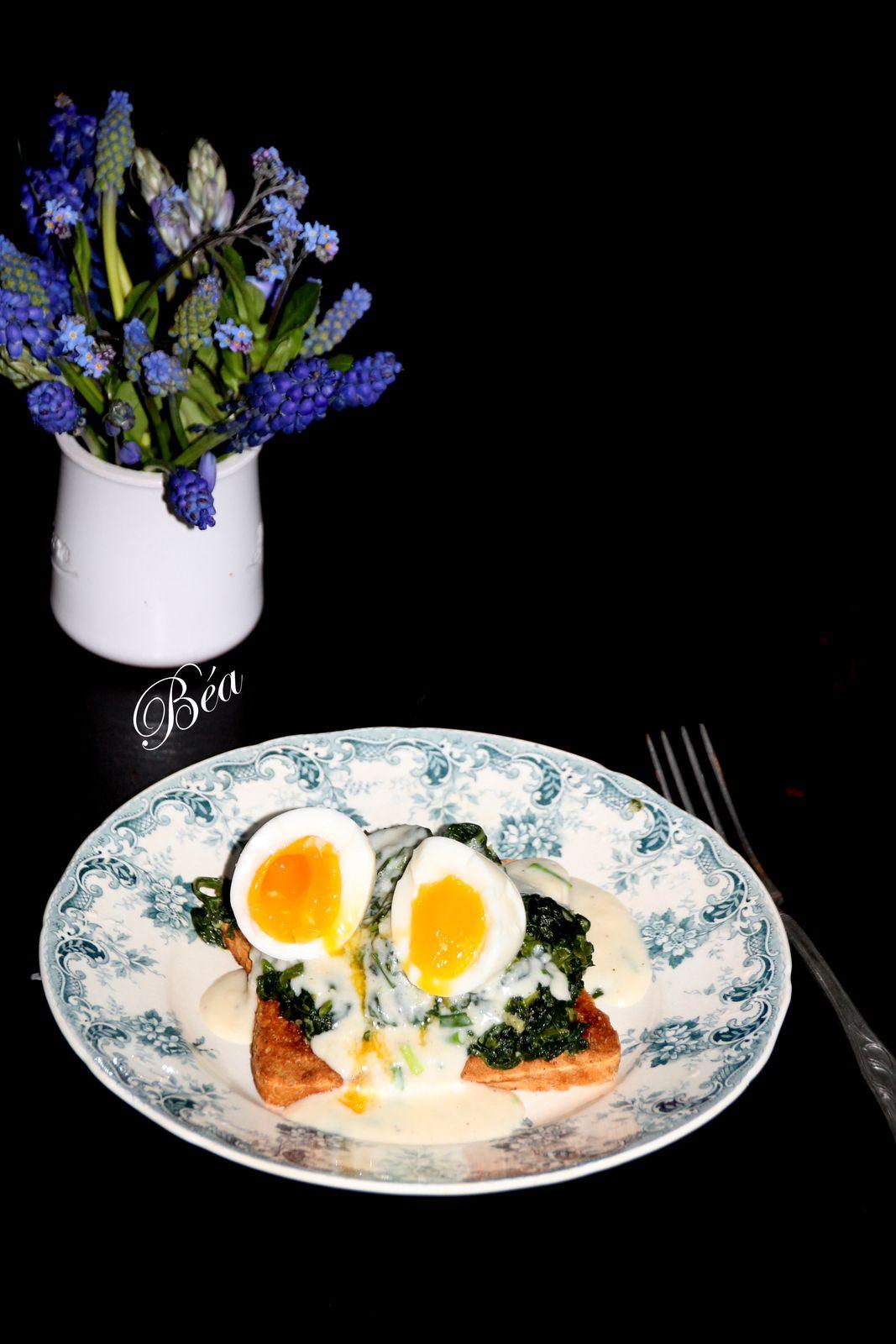 Toast, épinards sauce mornay et œuf mollet