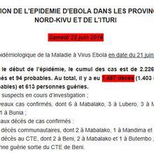 RDC : point sur Ébola au samedi 22 juin 2019