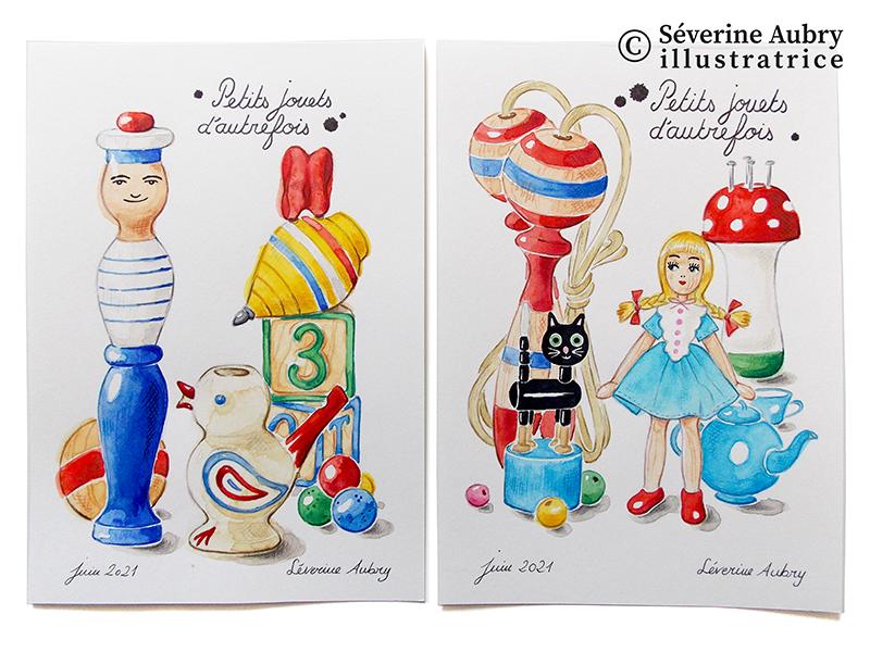 Extraits d'une série de 10 illustrations originales à encadrer mises en vente dans ma boutique Etsy Aquarelle, crayons de couleur, feutre encre de Chine et gouache 2021