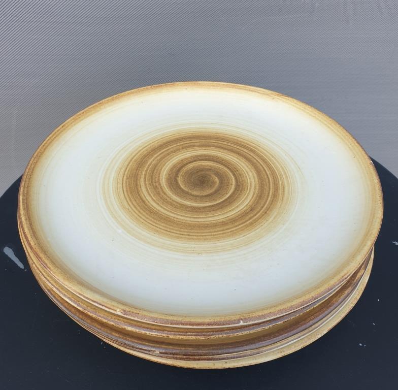 Set 5 assiettes grès Longchamp 1970 motif spirale diam24 - 25 euros