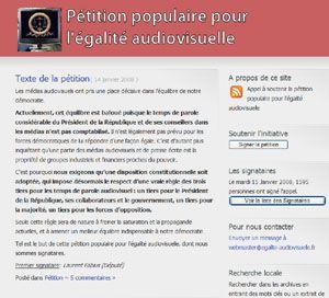"""""""Pétition populaire pour l'égalité audiovisuelle""""."""