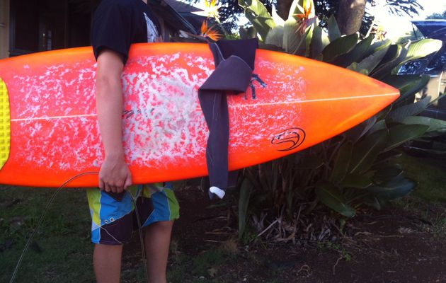 Gabe's new surfboard