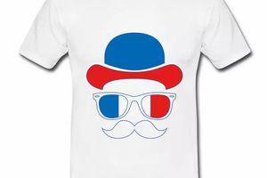 T shirt blanc pour hommes de supporteur en bleu blanc rouge