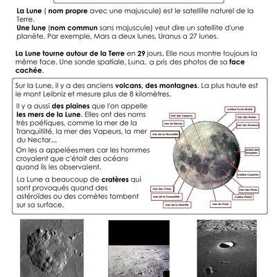 documentaire sur la Lune, cycle 2 et fiche de lecture