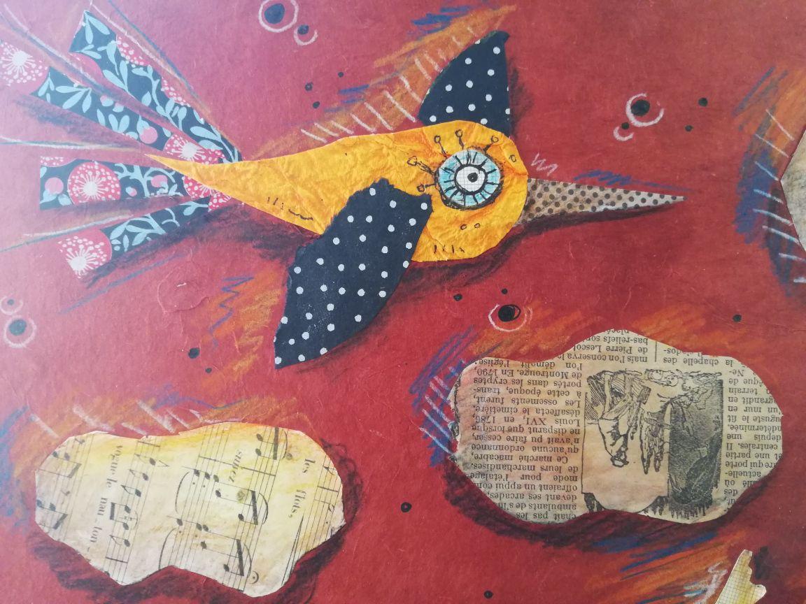 Techniques mixtes: collage, crayons aquarellables, feutres.Env 40 x 40 cm.