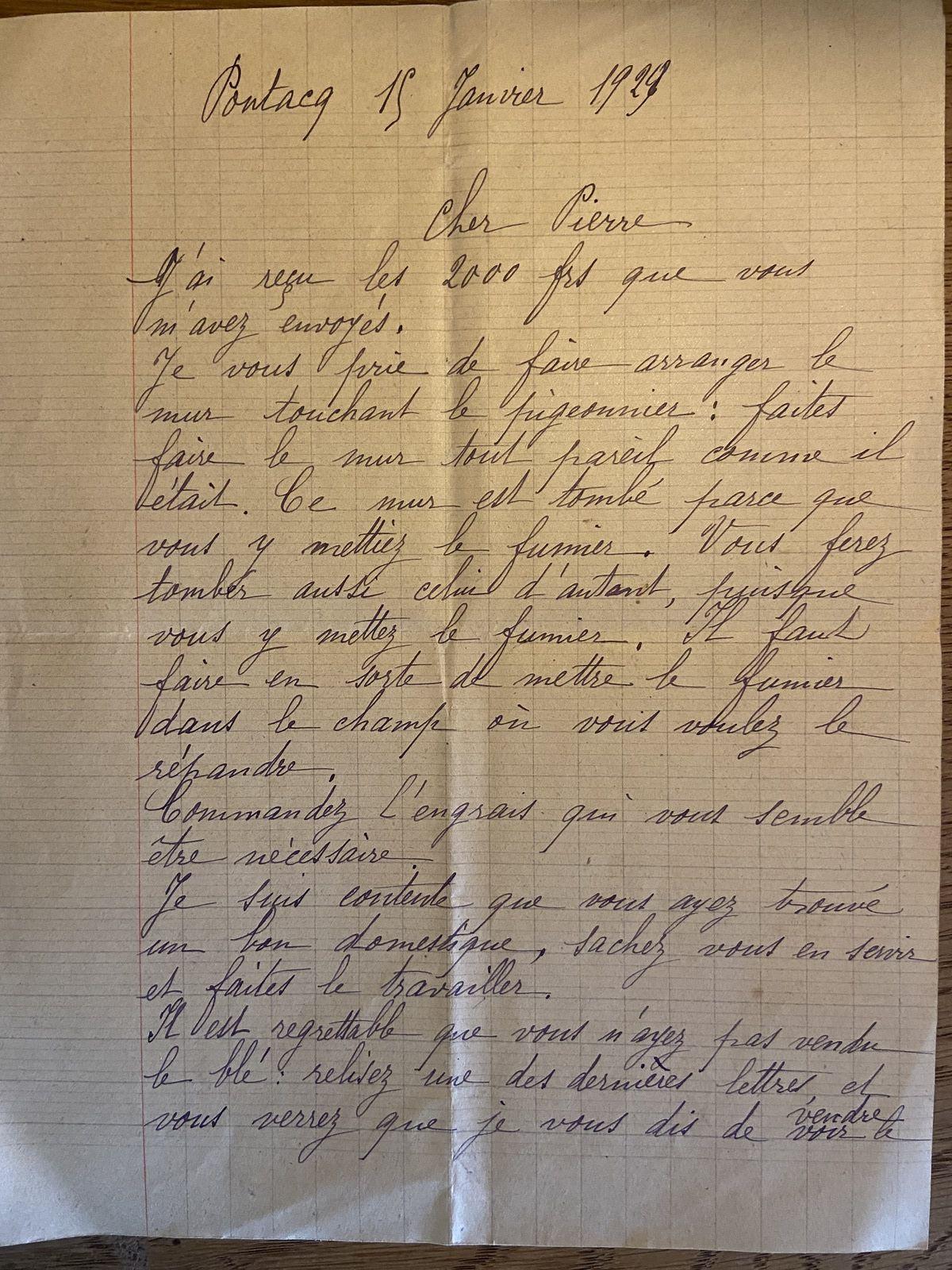 Lauragais d'Autrefois (119) : une correspondance propriétaire -métayer en 1929