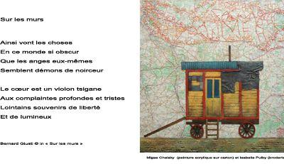 """""""Sur les murs"""", poème de Bernard Giusti - Illustration de Migas Chelsky et Isabelle Pulby"""