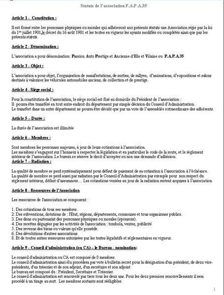 documents de l'association