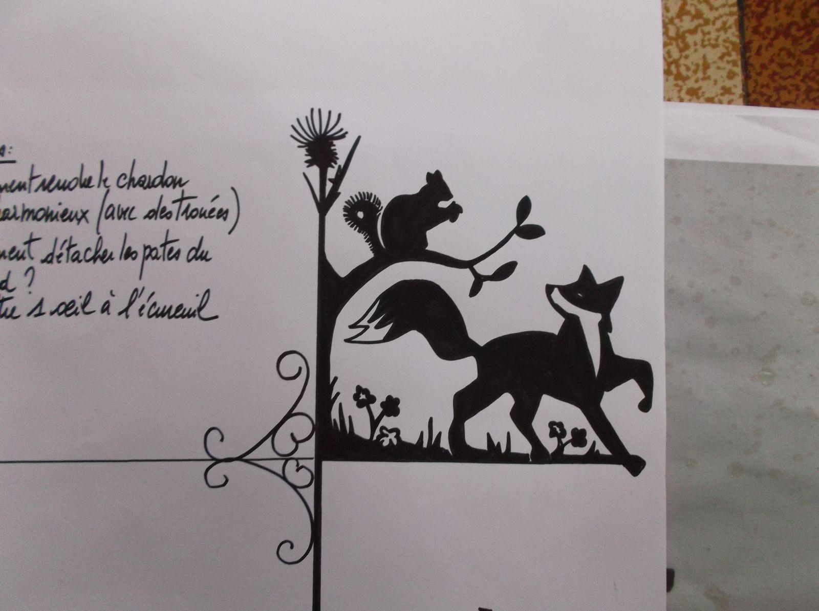 Girouette renard et écureuil