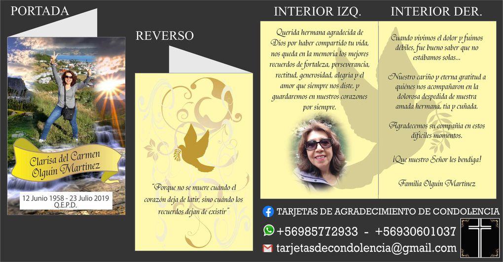 Diseños de Tarjetas de Agradecimiento de Condolencia, Defunción, Pésame, Formato Díptico - Whatsapp +56985772933  -  +56930601037