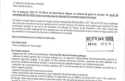 Mobilisation des communaux et communales de Saint-Denis le mardi 29 novembre