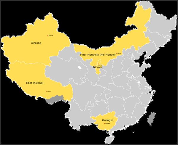 The autonomous regions of China are five: Guangxi, Inner Mongolia, Ningxia, Xinjiang and Tibet.