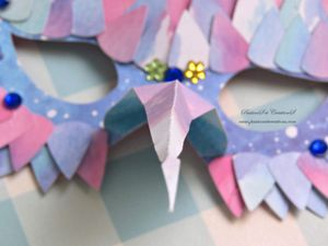 Masques - Carnaval - 2020 - Scan N Cut - Chouette - Plumes - Strass - Nez - Bleu - Rose - Ruban
