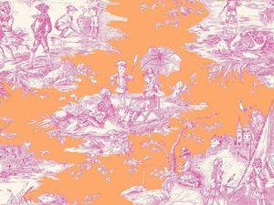 Tissu Toile de Jouy Histoire d'eau en coloris rouge fond orange et marine fond bleu. Nouveauté !