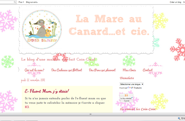 "Le blog de la semaine : ""La Mare au Canard"""