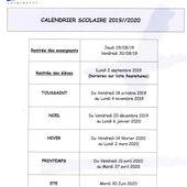 1_Calendrier scolaire 2019/2020 - Ecole Notre-Dame Courthezon