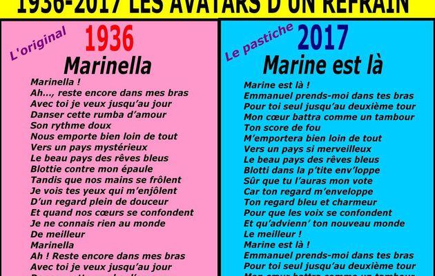 """LE TUBE DE LA SEMAINE : """"MARINE EST LÀ"""" - du 1er MAI 2017 (J+3057 après le vote négatif fondateur)"""
