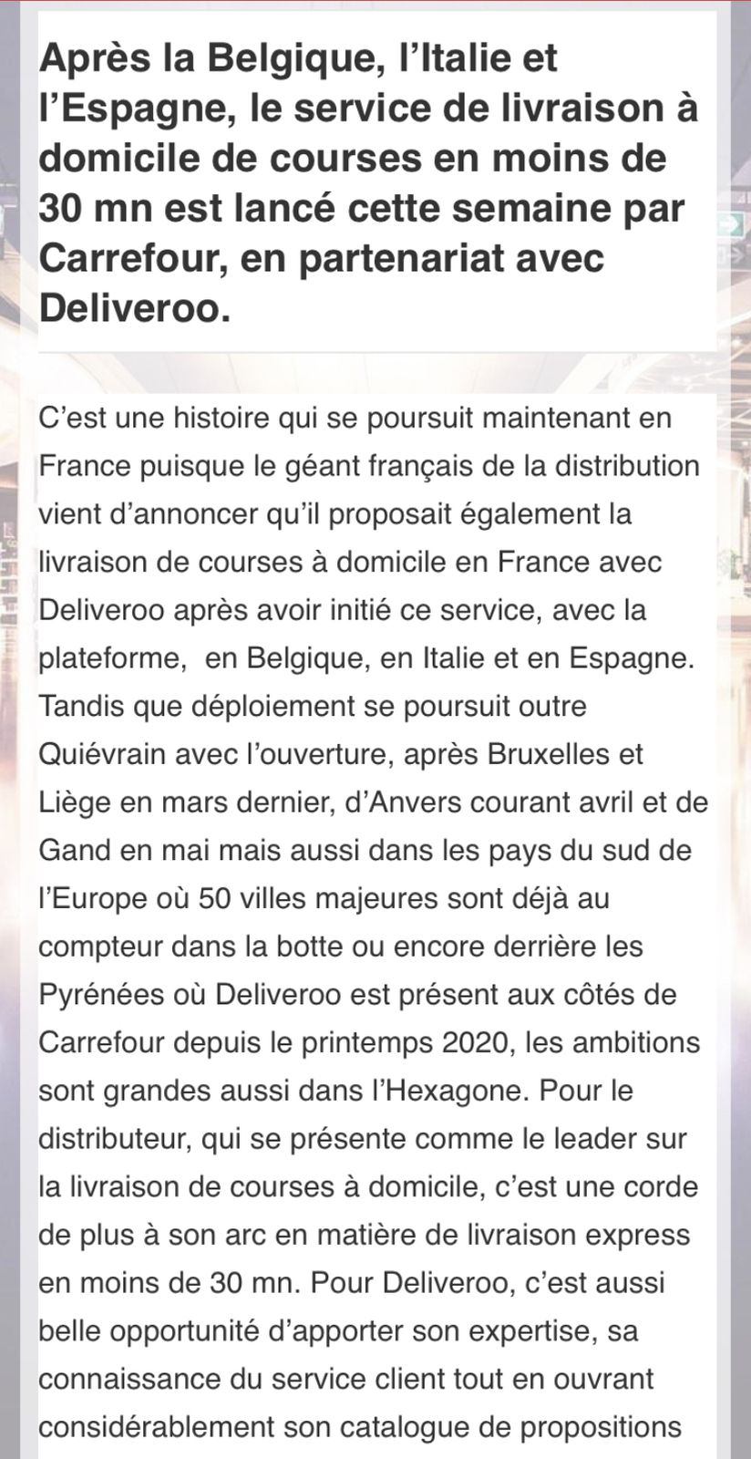 Deliveroo et Carrefour, main dans la main en France et à l'international