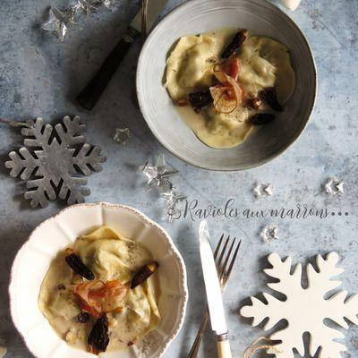 Ravioles aux marrons et céleris et leur crème aux morilles