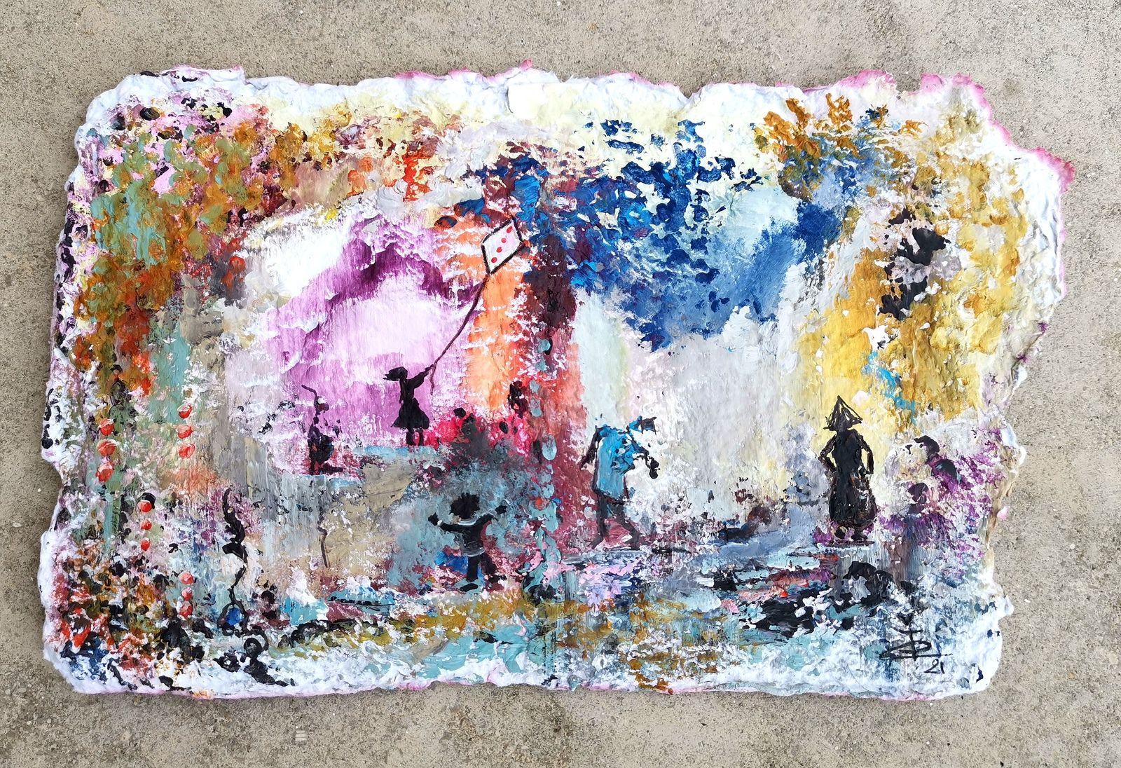 Tendre poésie - Acrylique sur papier (16 x 25)