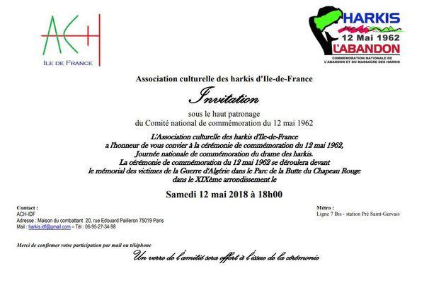 Commémoration abandon des harkis du samedi 12 mai 2018 à Paris XIXème