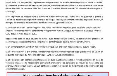 Discrimination syndicale ANTARTIC SAINT MARTIN D ABBAT