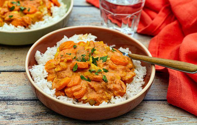 Poisson au lait de coco, carottes et riz