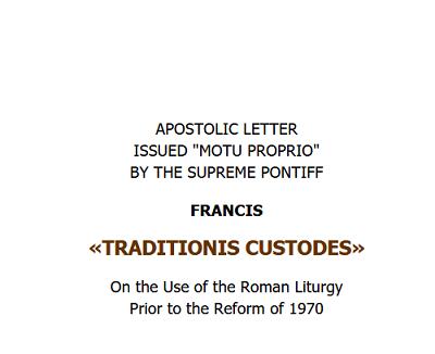 Le pape François, Gardien de la Tradition ?